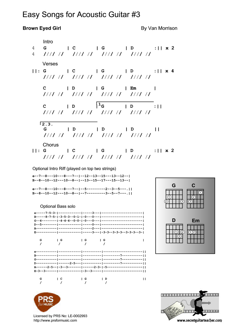 Free celtic sheet music and easy acoustic guitar tabs in key of g