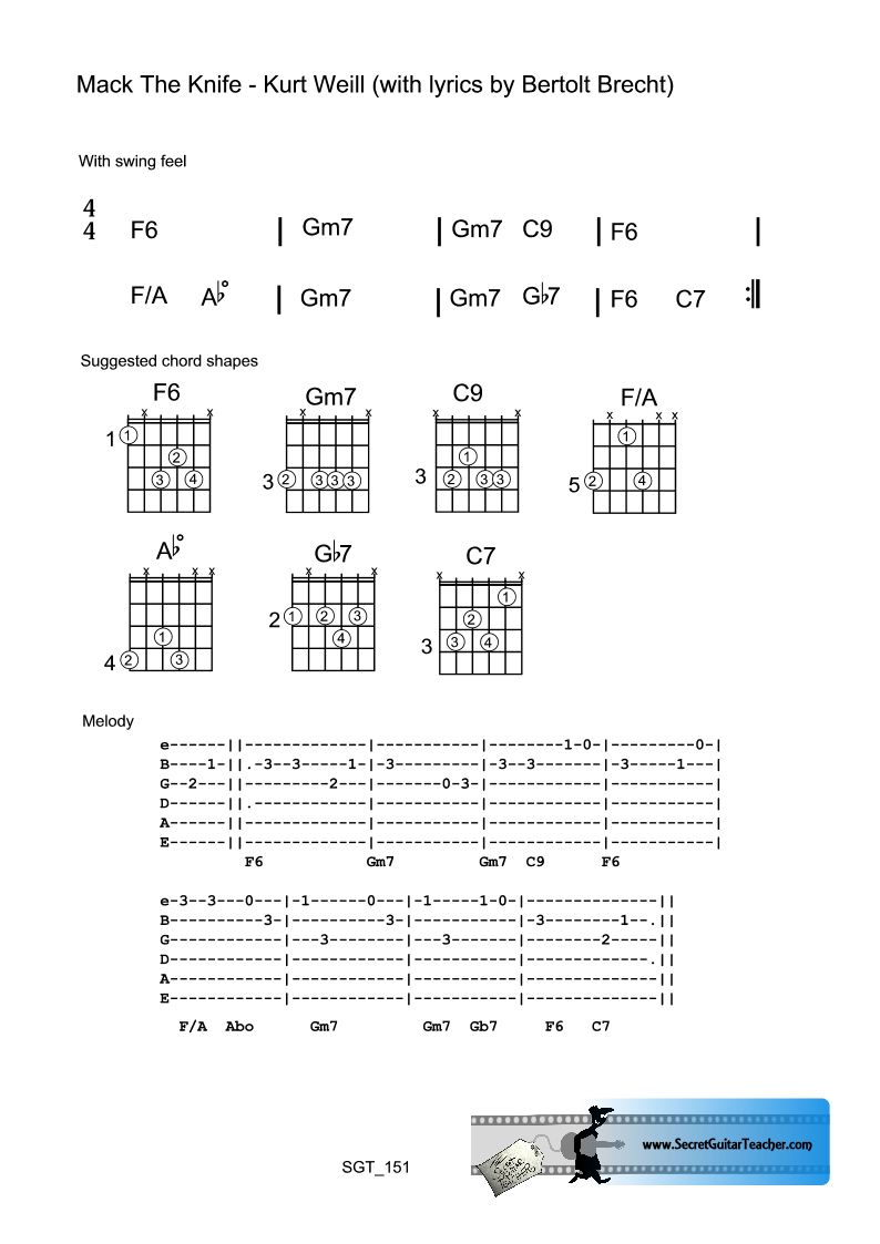 Mack The Knife Chords Image Collections Piano Chord Chart With